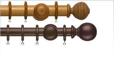 Curtain Poles with natural wood stains